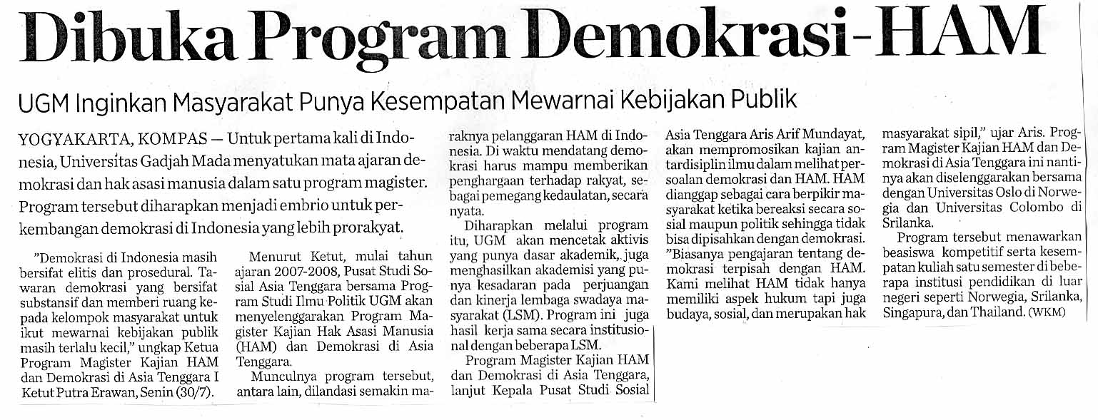 Di buka program demokrasi ham