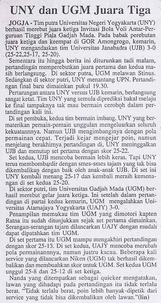 UNY dan UGM juara tiga